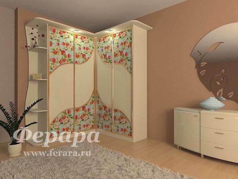 Угловой шкаф в гостиную с цветочным узором