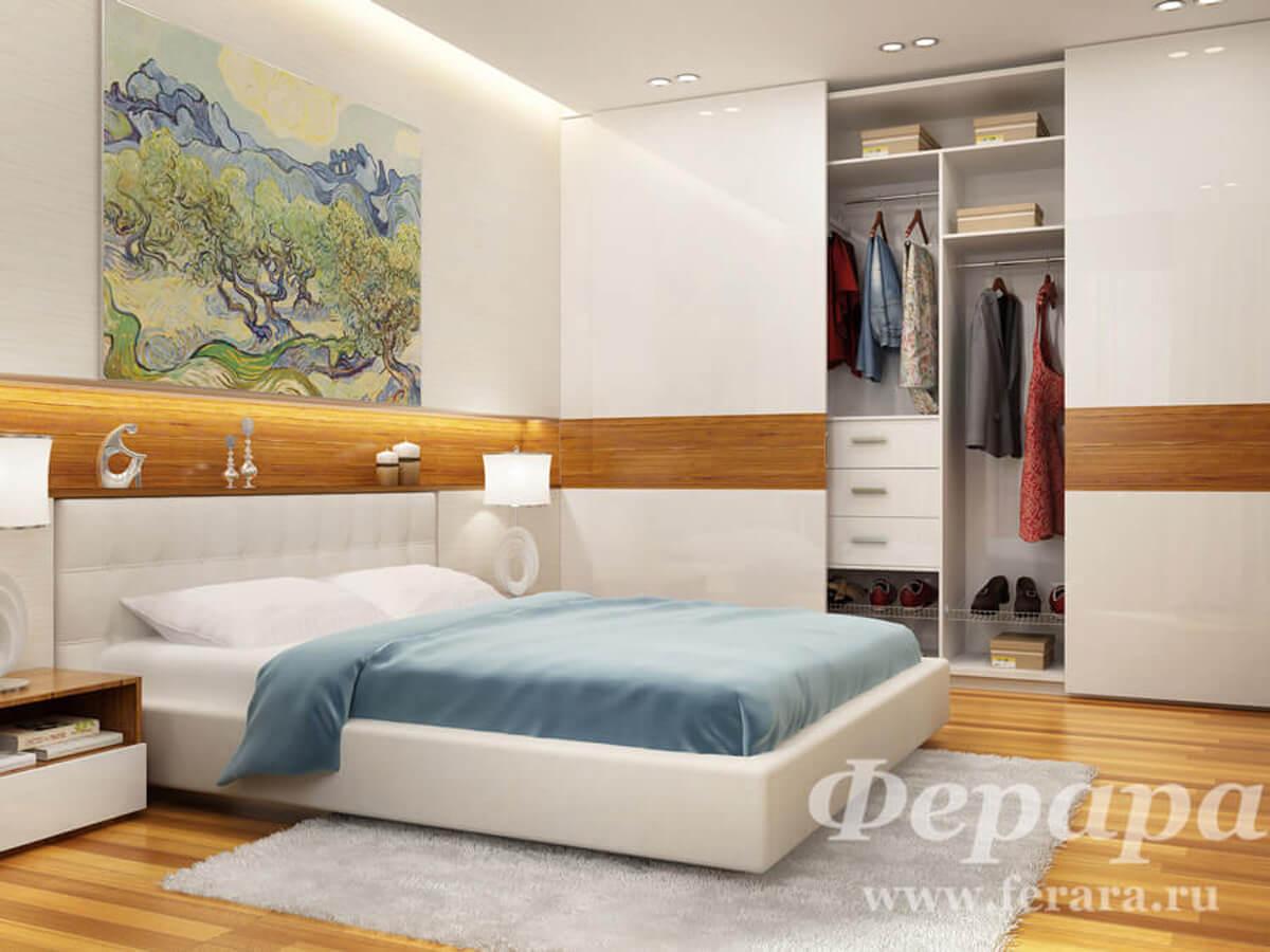 Встроенная гардеробная с дверьми-купе в спальню
