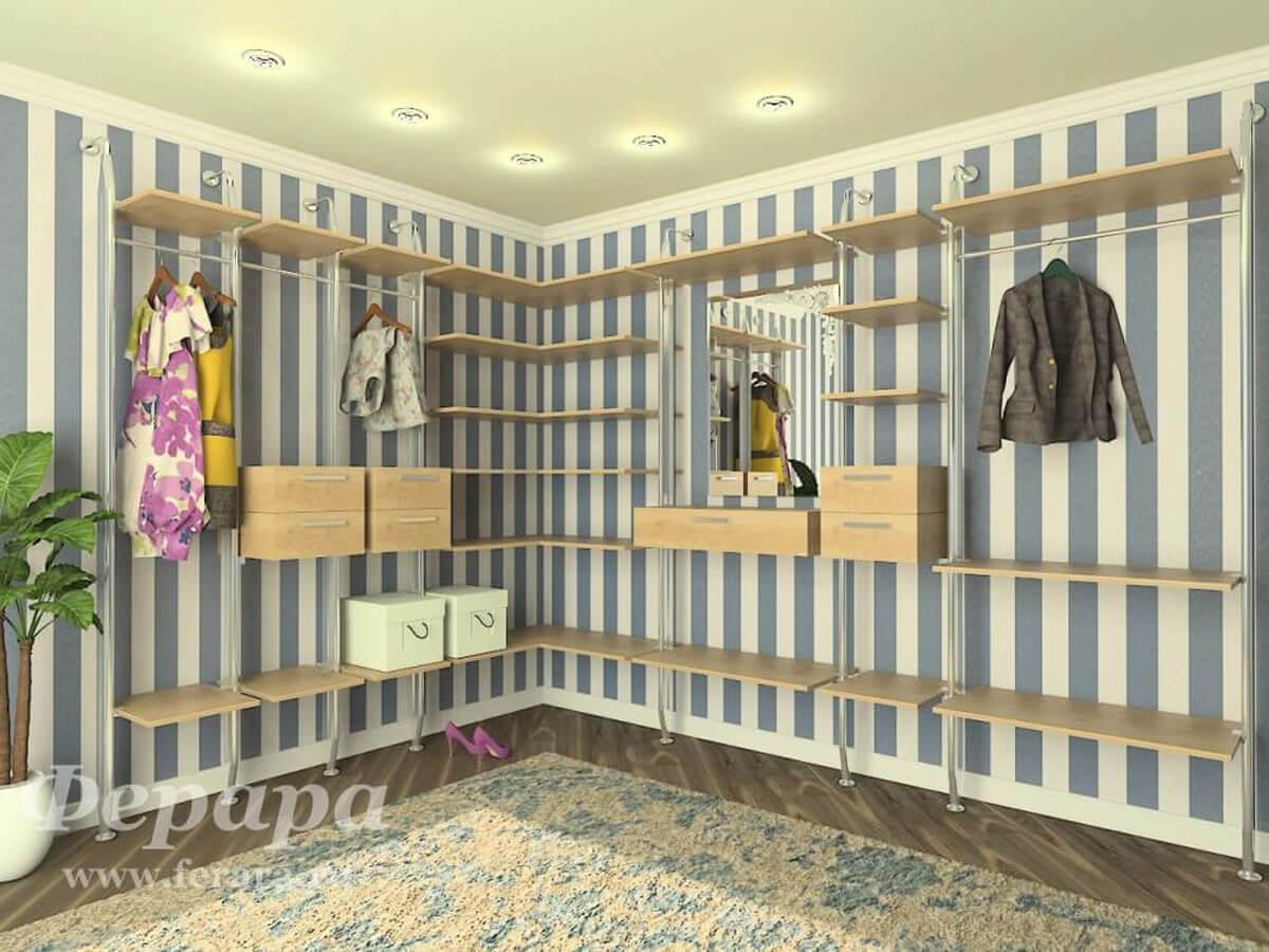 Стеллажная гардеробная система фото