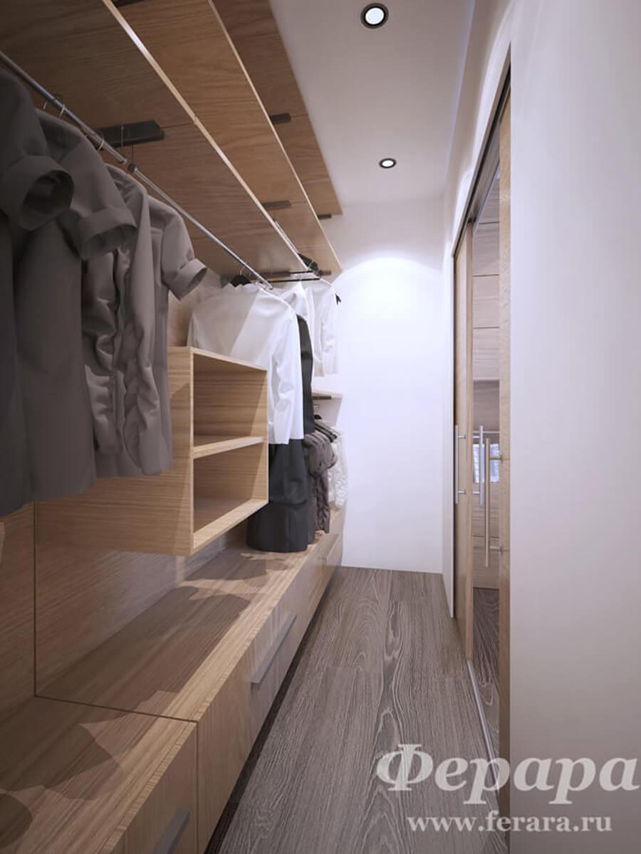 Гардеробная для узкой комнаты