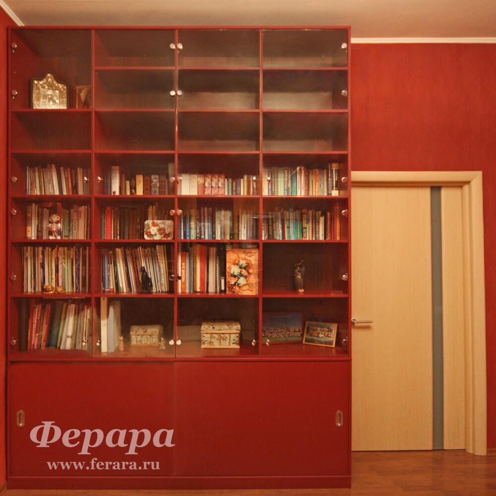 Распашные шкафы в библиотеку на заказ от производителя (фото.
